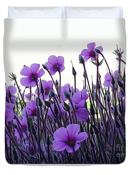 Duvet Cover featuring the photograph Purple Flowers Dance by Jasna Gopic