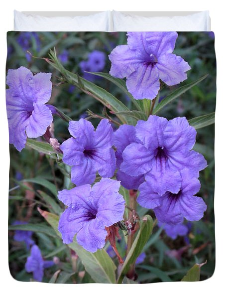 Duvet Cover featuring the photograph Purple Flowers by Laurel Powell