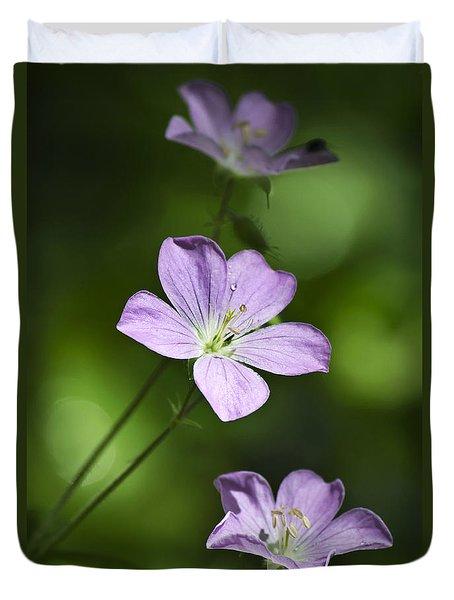 Purple Geranium Flowers Duvet Cover by Christina Rollo