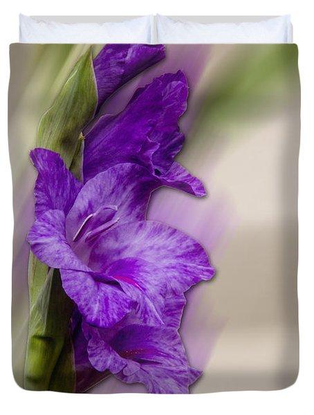 Purple Gladiolus Bloom Duvet Cover