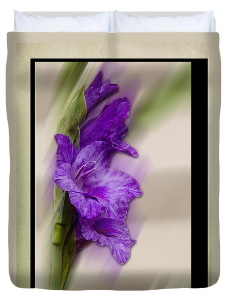 Purple Gladiolus Duvet Cover by Patti Deters