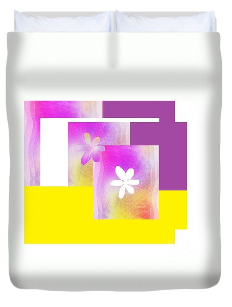 Purple Glow Flower Duvet Cover