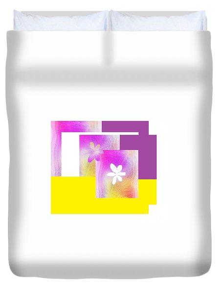 Duvet Cover featuring the digital art Purple Glow Flower by Ann Calvo
