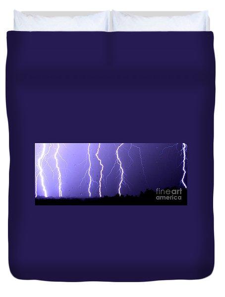 Purple Rain Lightning Duvet Cover