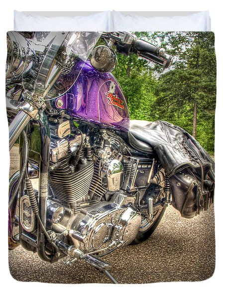Purple Harley Duvet Cover