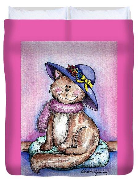 Purple Hat Cat Duvet Cover