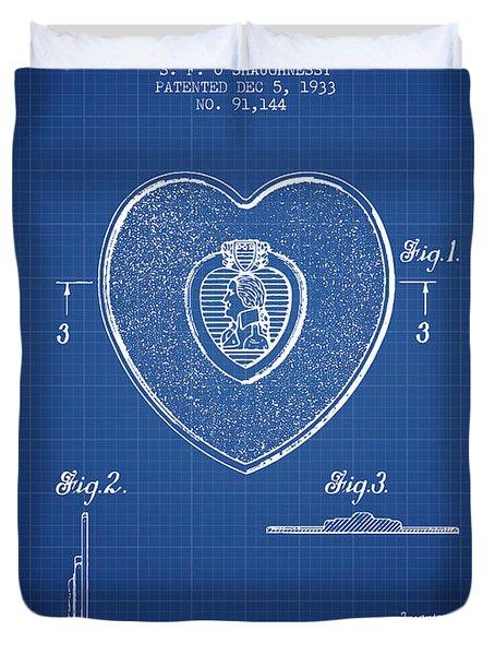 Purple Heart Patent From 1933 - Blueprint Duvet Cover