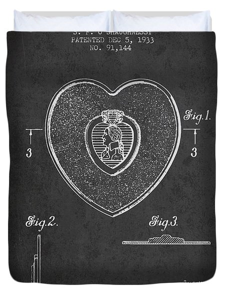 Purple Heart Patent From 1933 - Charcoal Duvet Cover