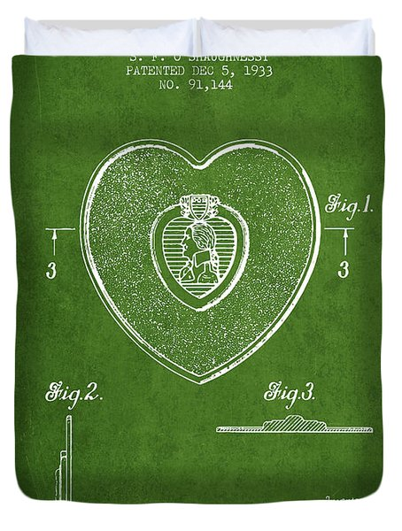 Purple Heart Patent From 1933 - Green Duvet Cover