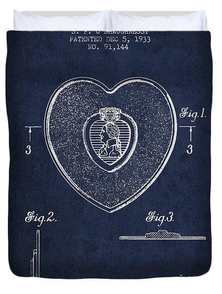 Purple Heart Patent From 1933 - Navy Blue Duvet Cover