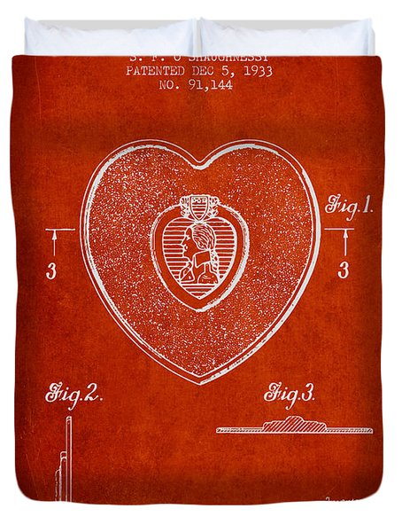 Purple Heart Patent From 1933 - Red Duvet Cover