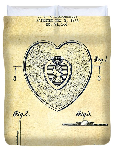 Purple Heart Patent From 1933 - Vintage Duvet Cover