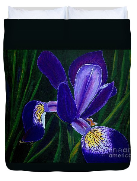 Purple Iris Duvet Cover by Barbara Griffin