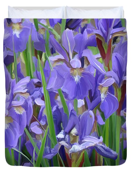 Duvet Cover featuring the painting Purple Iris Garden by Tim Gilliland