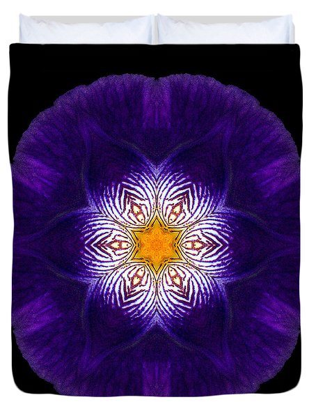 Purple Iris II Flower Mandala Duvet Cover
