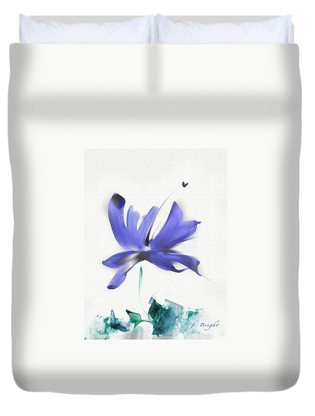 Duvet Cover featuring the mixed media Purple Iris In The Greenery by Frank Bright