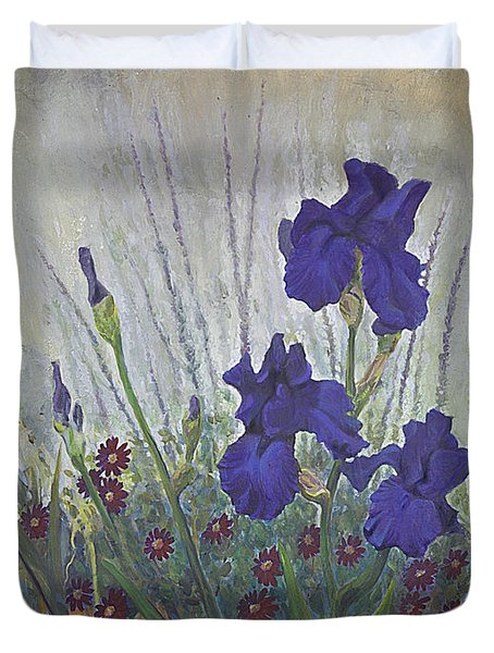 Purple Iris Duvet Cover by Rob Corsetti