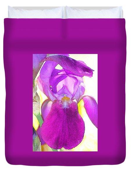 Purple Iris Watercolor Duvet Cover