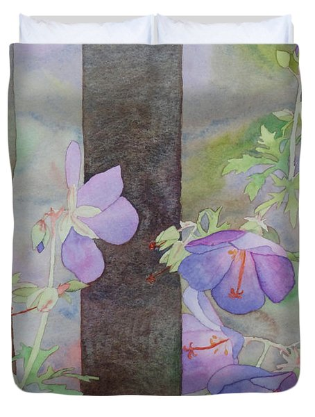 Purple Ivy Geranium Duvet Cover