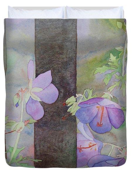 Purple Ivy Geranium Duvet Cover