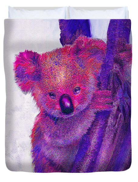 Purple Koala Duvet Cover by Jane Schnetlage