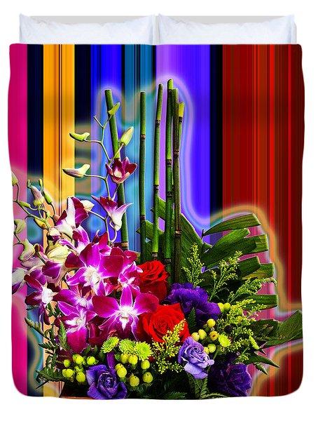 Purple Lady Flowers Duvet Cover