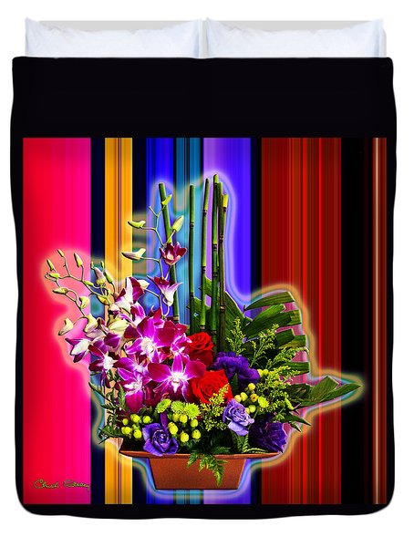 Purple Lady Flowers Duvet Cover by Chuck Staley