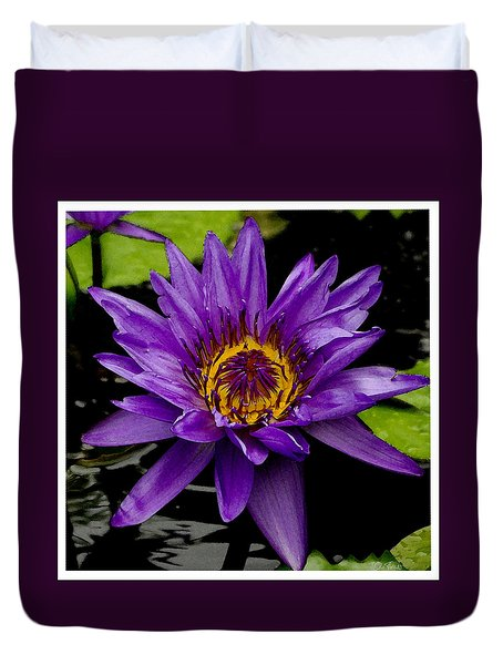 Duvet Cover featuring the photograph Purple Lotus Water Lilies by James C Thomas