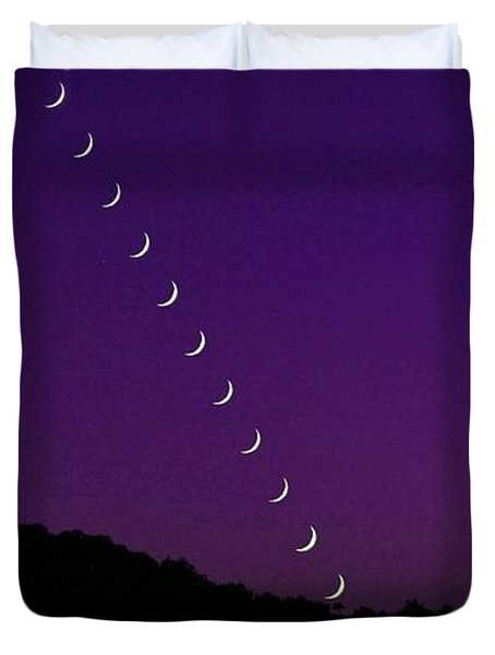 Purple Moon Setting In West Duvet Cover