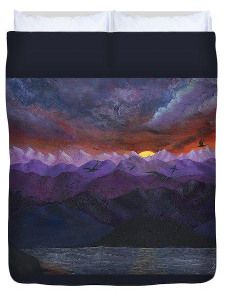Purple Mountain Sunset Duvet Cover by Sandy Jasper
