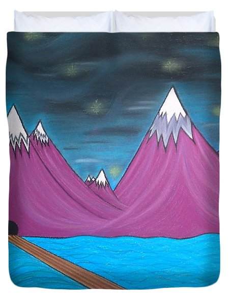 Duvet Cover featuring the pastel Purple Mountains by Robert Nickologianis