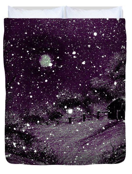 Purple Night Full Moon Duvet Cover by Barbara Griffin