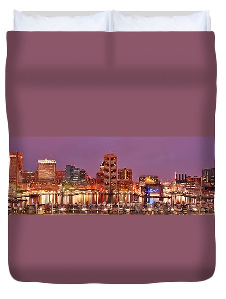 Purple Night In Baltimore Duvet Cover
