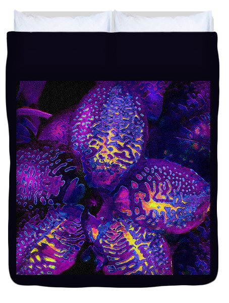 Purple Orchid Abstract Duvet Cover by Jane Schnetlage