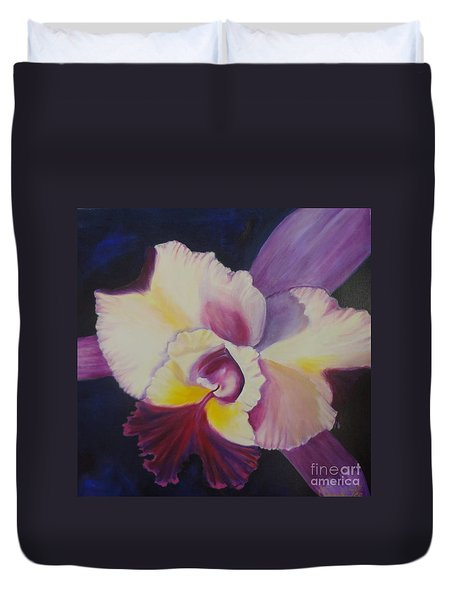 Duvet Cover featuring the painting Purple Orchid by Jenny Lee