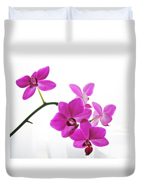 Duvet Cover featuring the digital art purple orchids II by Jane Schnetlage