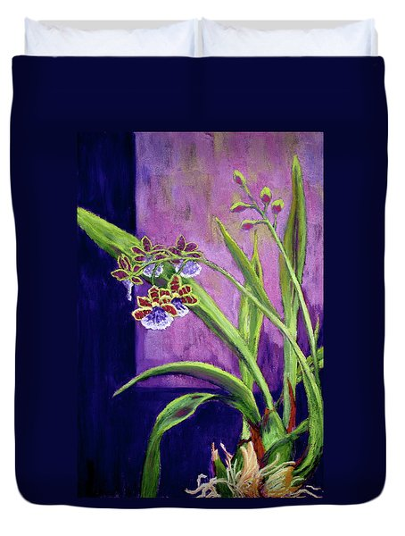 Duvet Cover featuring the painting Purple Orchids by Nancy Jolley