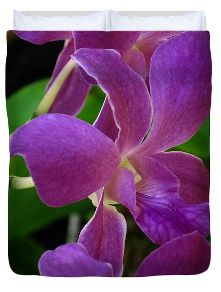 Duvet Cover featuring the photograph Purple Over Green by Greg Allore