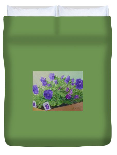 Purple Pansies Colorful Original Oil Painting Flower Garden Art  Duvet Cover