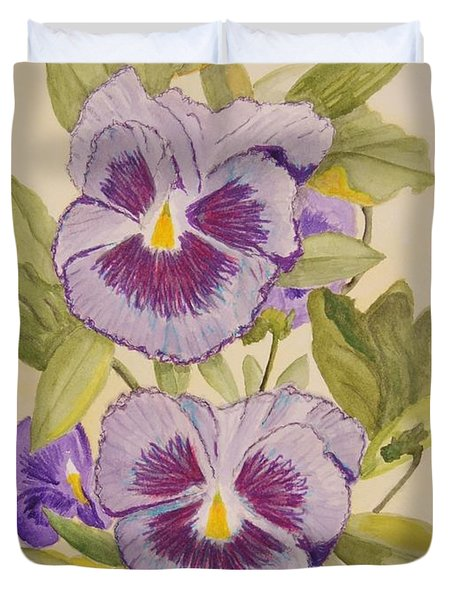 Purple Pansies II Duvet Cover