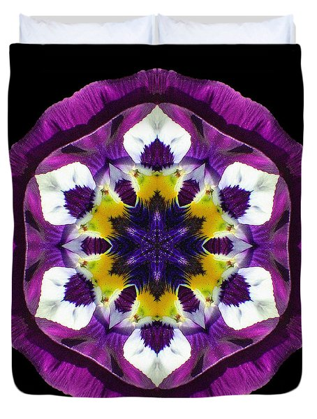 Purple Pansy II Flower Mandala Duvet Cover