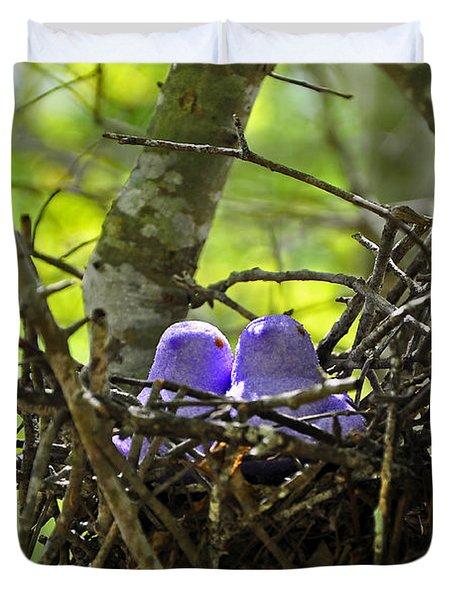 Purple Peeps Pair Duvet Cover