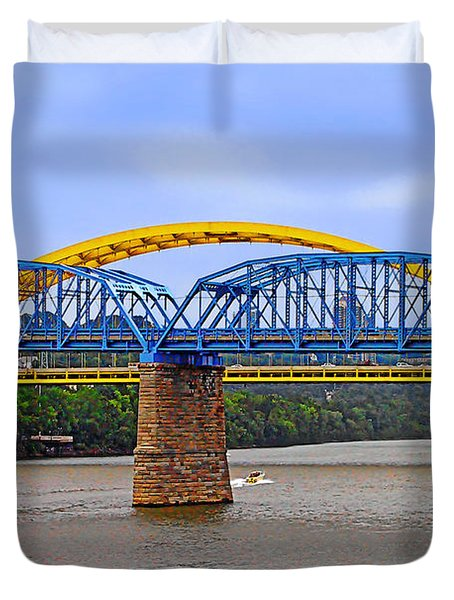 Purple People Bridge And Big Mac Bridge - Ohio River Cincinnati Duvet Cover by Christine Till