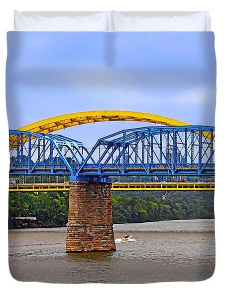 Purple People Bridge And Big Mac Bridge - Ohio River Cincinnati Duvet Cover