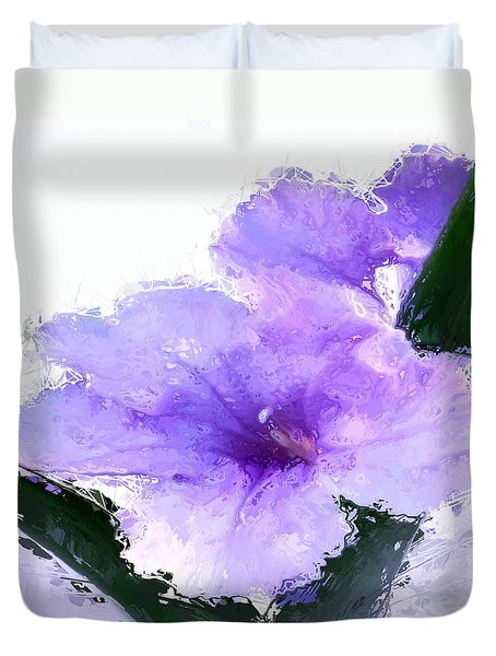 Duvet Cover featuring the digital art Purple Petunia by Anthony Fishburne
