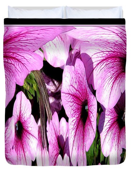 Purple Petunias Abstract Duvet Cover by Rose Santuci-Sofranko