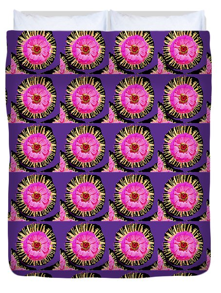Purple Pink Flower Pattern Decoration Background Designs  And Color Tones N Color Shades Available F Duvet Cover by Navin Joshi