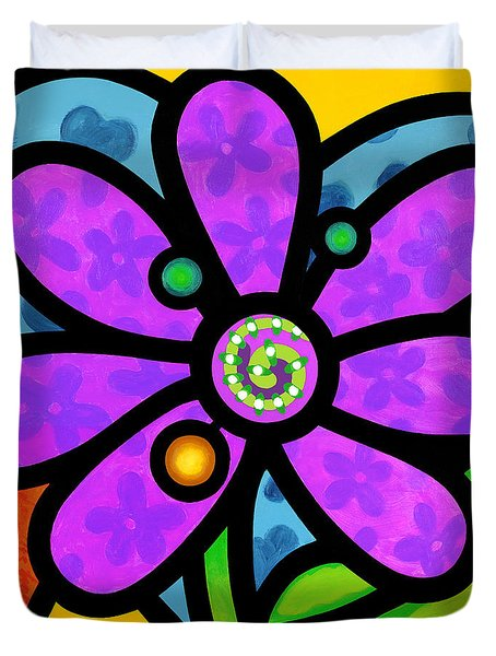 Purple Pinwheel Daisy Duvet Cover