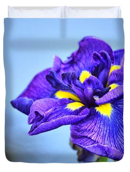 Purple Pond Iris Duvet Cover