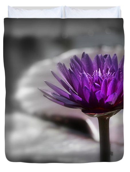 Purple Pond Lily Duvet Cover